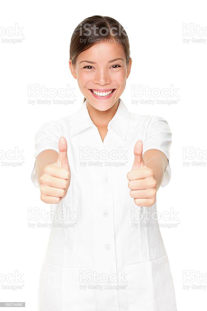 Happy beauty spa therapist woman successful royalty-free stock photo