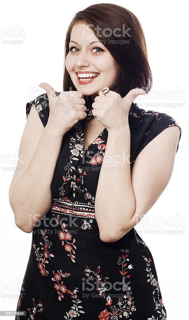 happy beauty mujer en vestido negro foto de stock libre de derechos