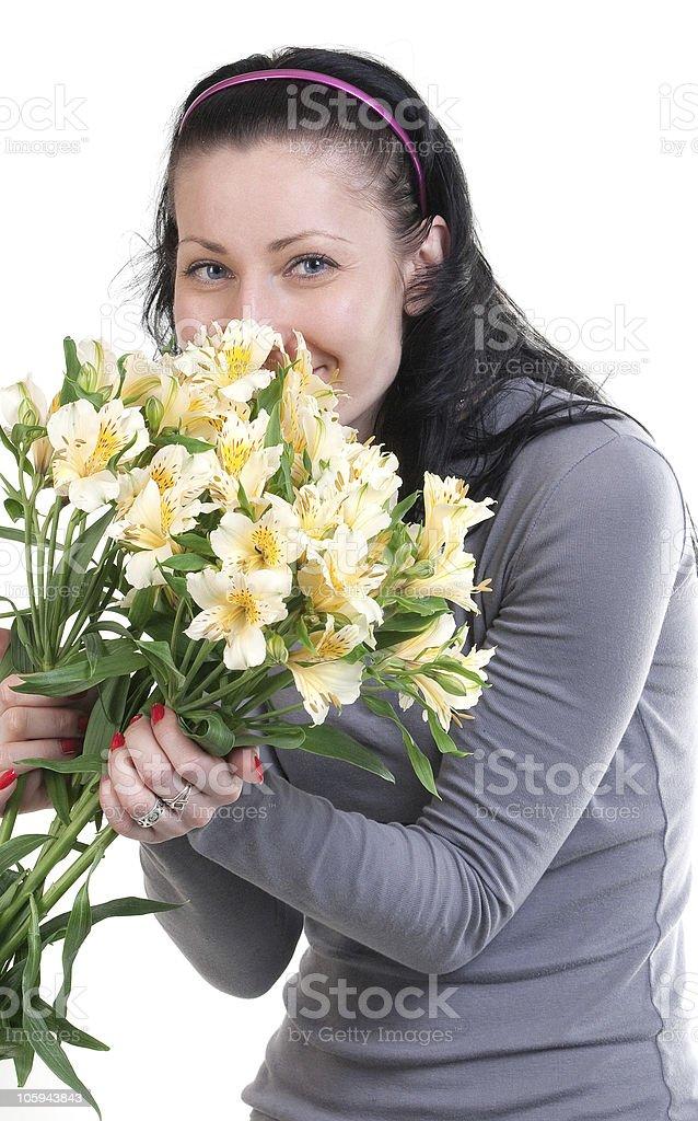Feliz mujer de belleza con ramo foto de stock libre de derechos