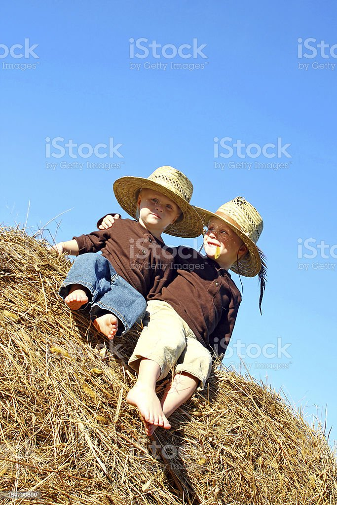 Happy Big Brother and Baby Sitting on Hay Bale Outside royalty-free stock photo