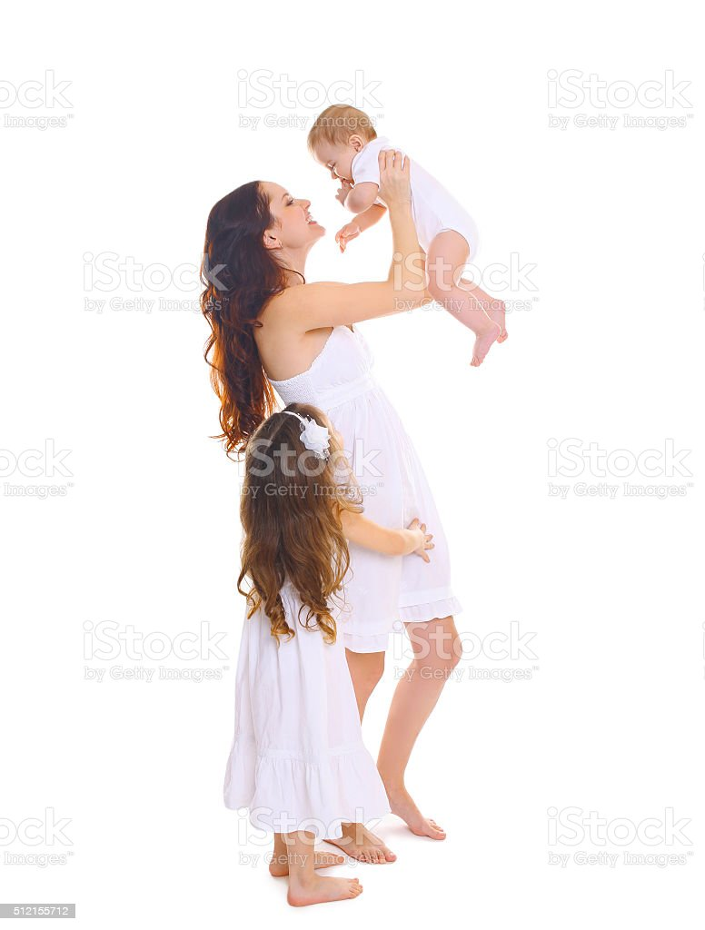 Happy big family! mother with two children daughters on white stock photo