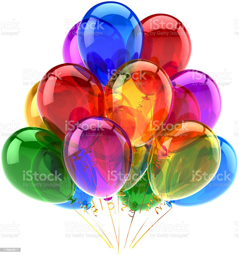 Happy birhtday party balloons decoration classic multicolored stock photo