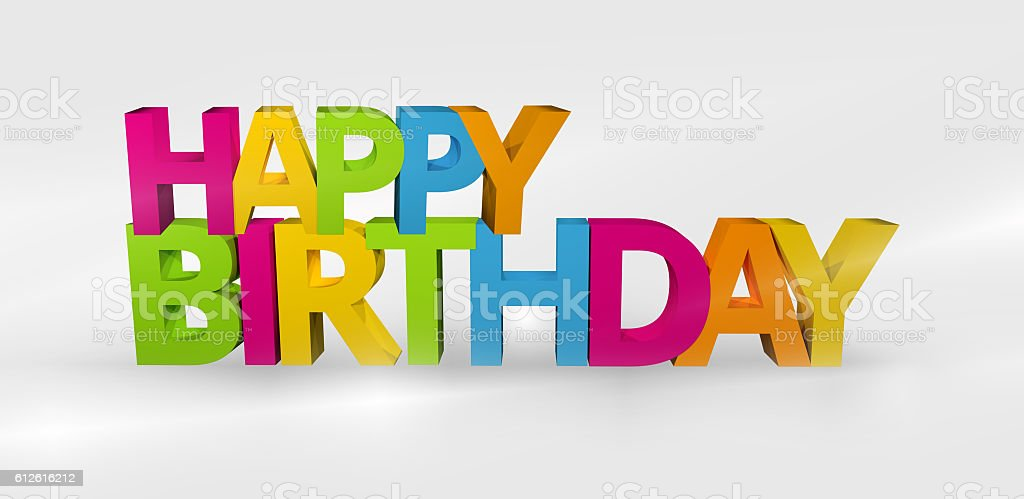 Happy Birthday 3D render design stock photo