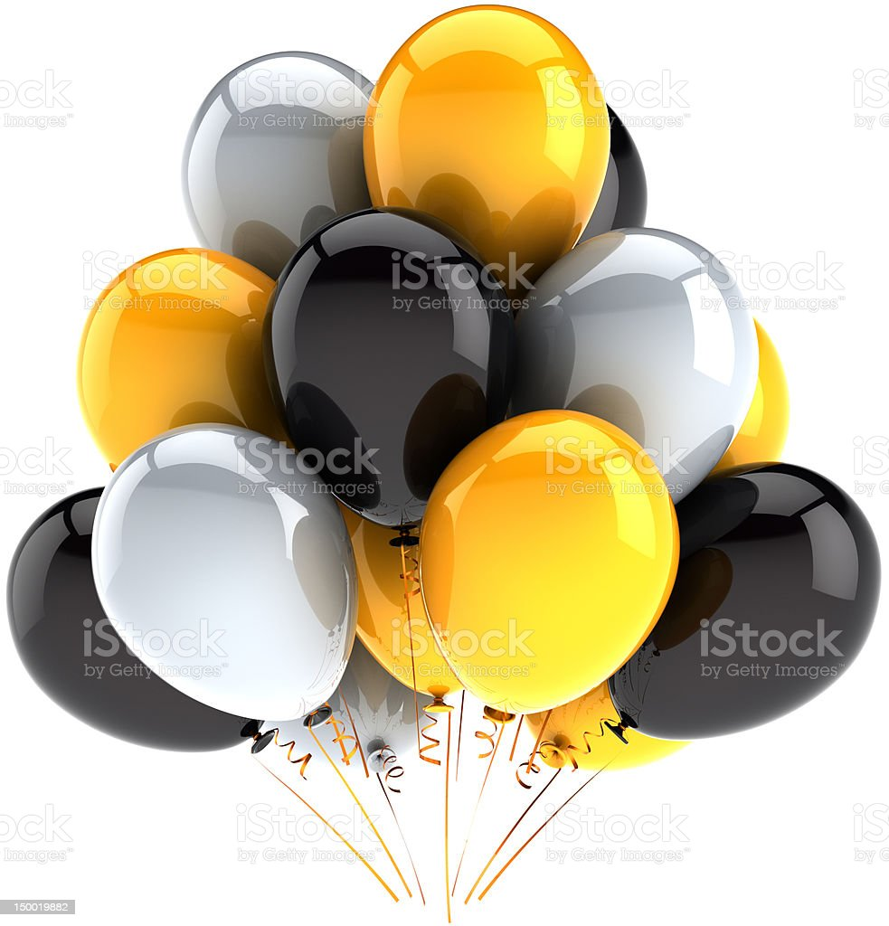 Happy birthday ballons party holiday celebration decoration white black yellow stock photo