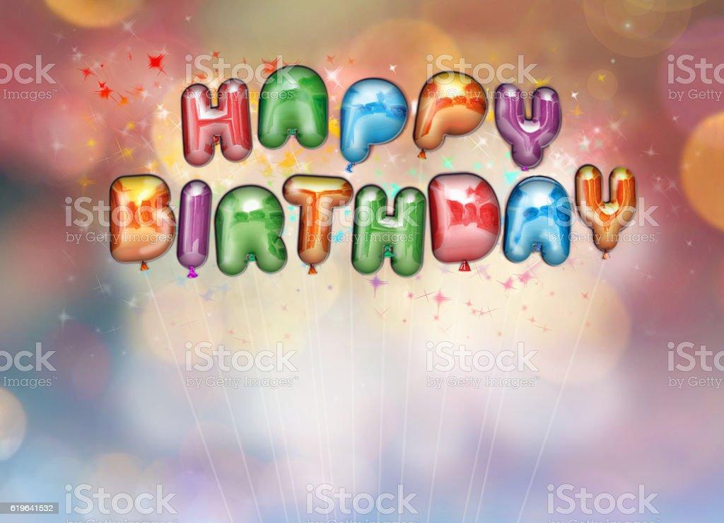 Happy Birthday balloon lettering stock photo