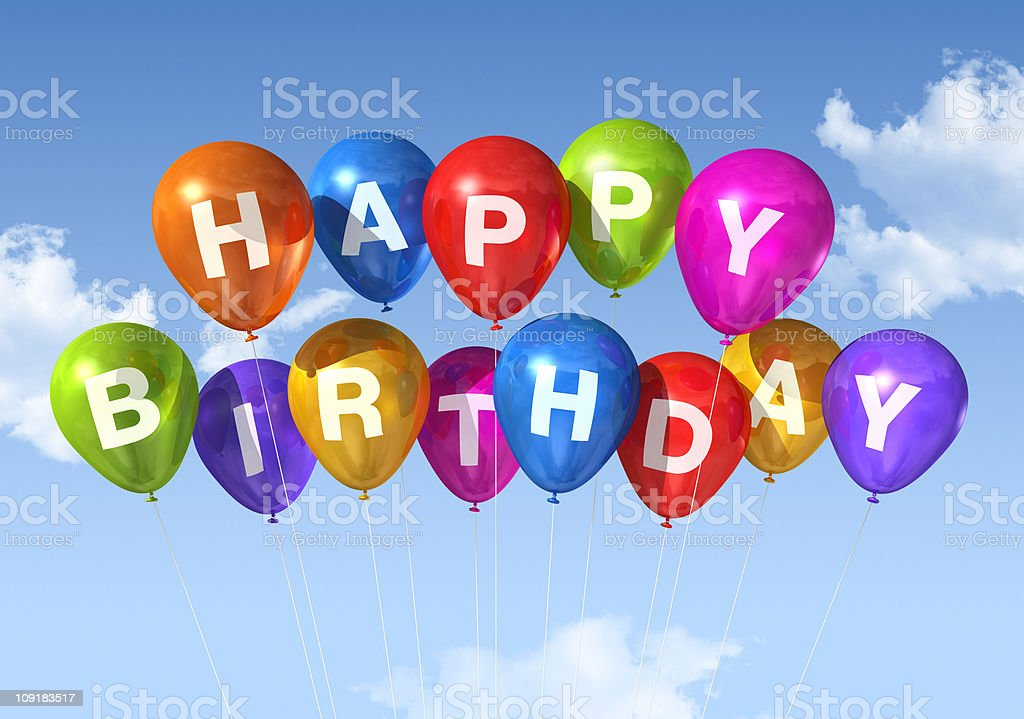 Happy Birthday balloons in the sky stock photo