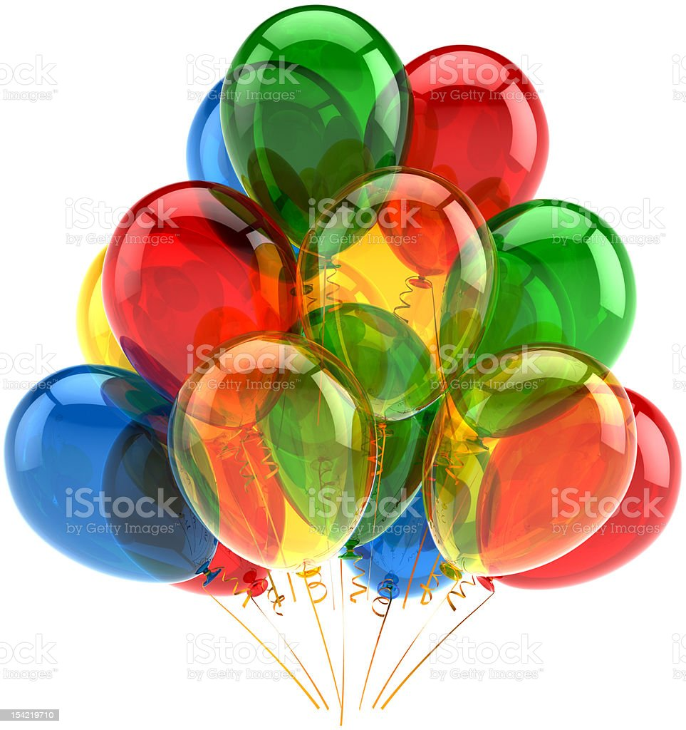 Happy birthday balloons party decoration classic translucent royalty-free stock photo