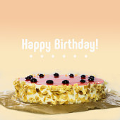 Happy birthday card. Cake with black cherry, red jelly, almond