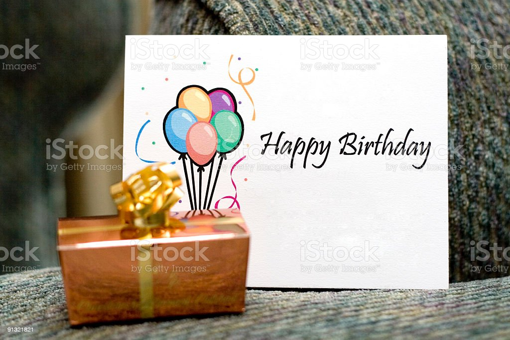 Happy birthday card with a gift stock photo