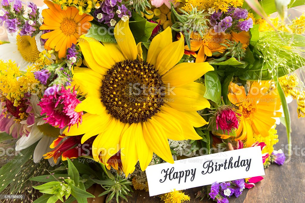 Happy Birthday Card with Bouquet of Summer Flowers stock photo