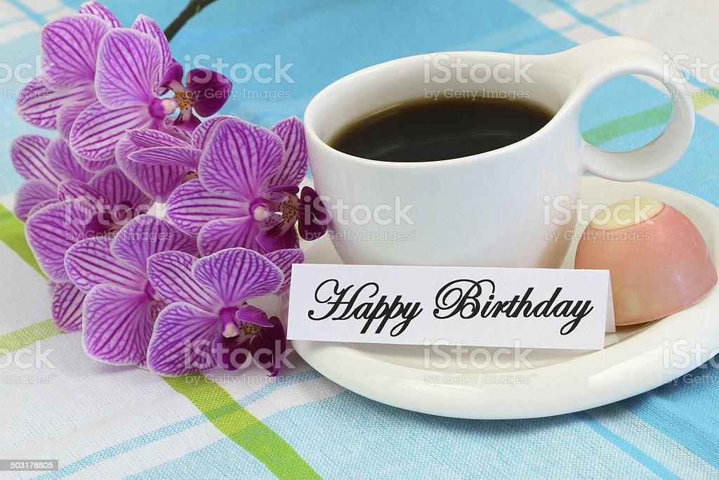 carte de joyeux anniversaire avec café chocolat et rose orchidÉe