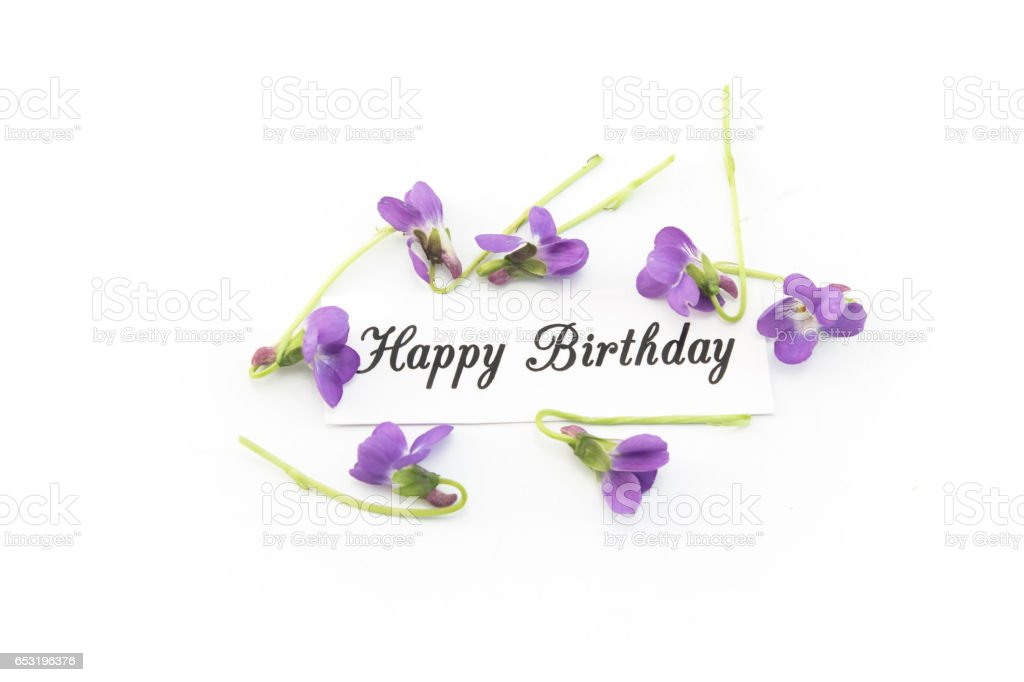 Happy Birthday Card with Violets stock photo