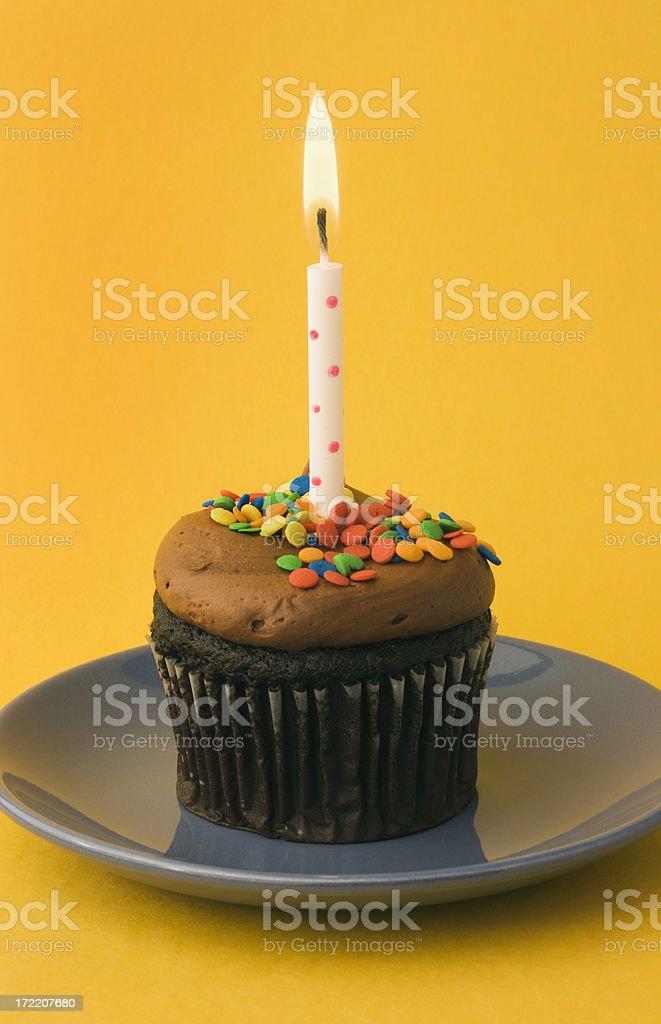 Happy Birthday - Chocolate Cupcake royalty-free stock photo
