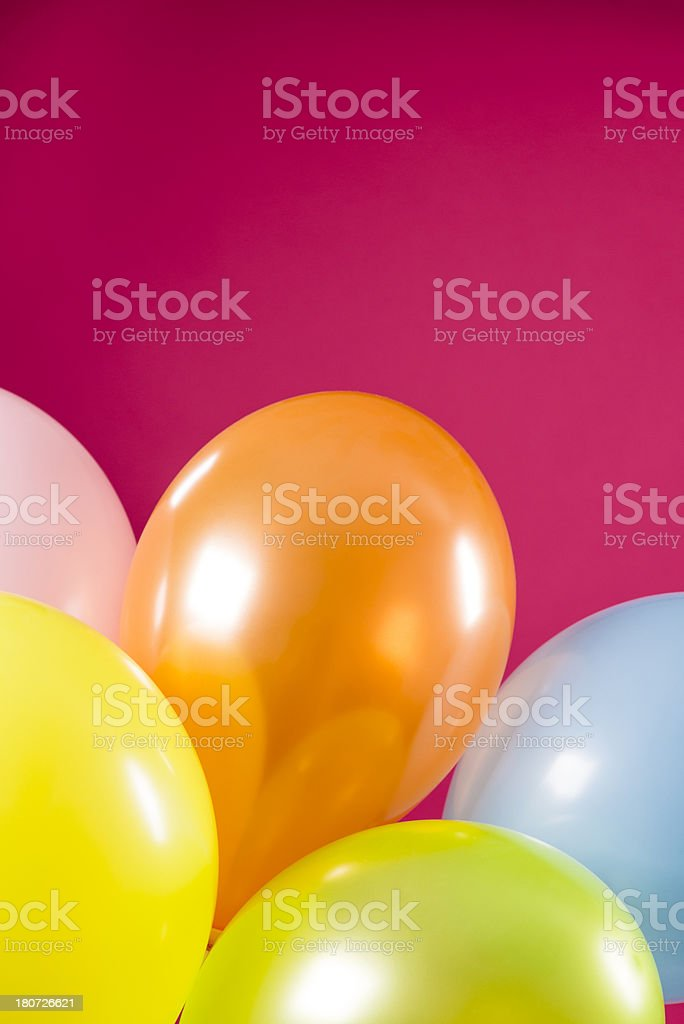 Happy birthday, close-up of five party multicolored balloons royalty-free stock photo
