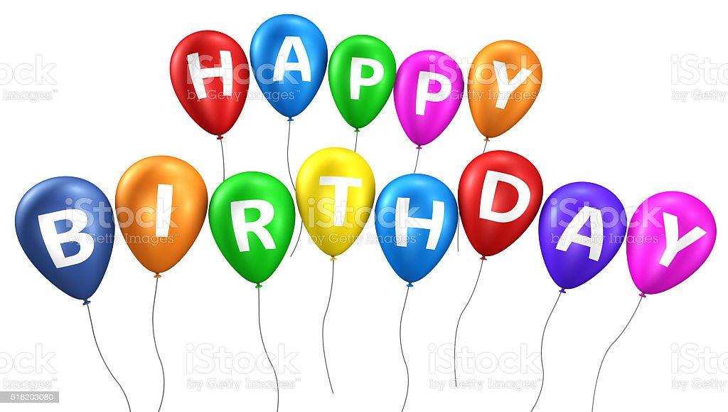 Happy Birthday Colorful Balloons stock photo