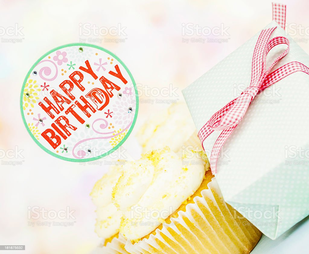 Happy Birthday Cupcake and Gift royalty-free stock photo