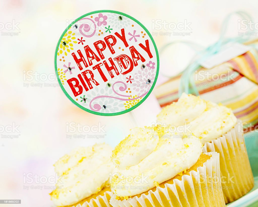 Happy Birthday Cupcakes and Gift royalty-free stock photo