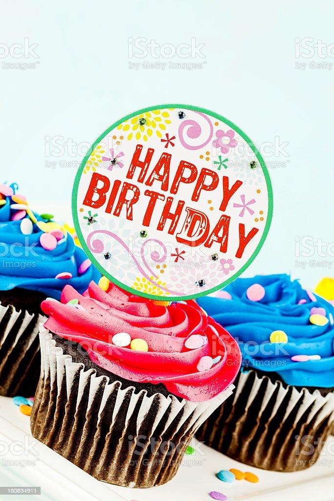 Happy Birthday Cupcakes royalty-free stock photo