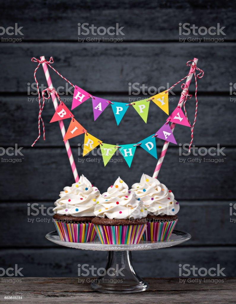 Happy Birthday Cupcakes stock photo
