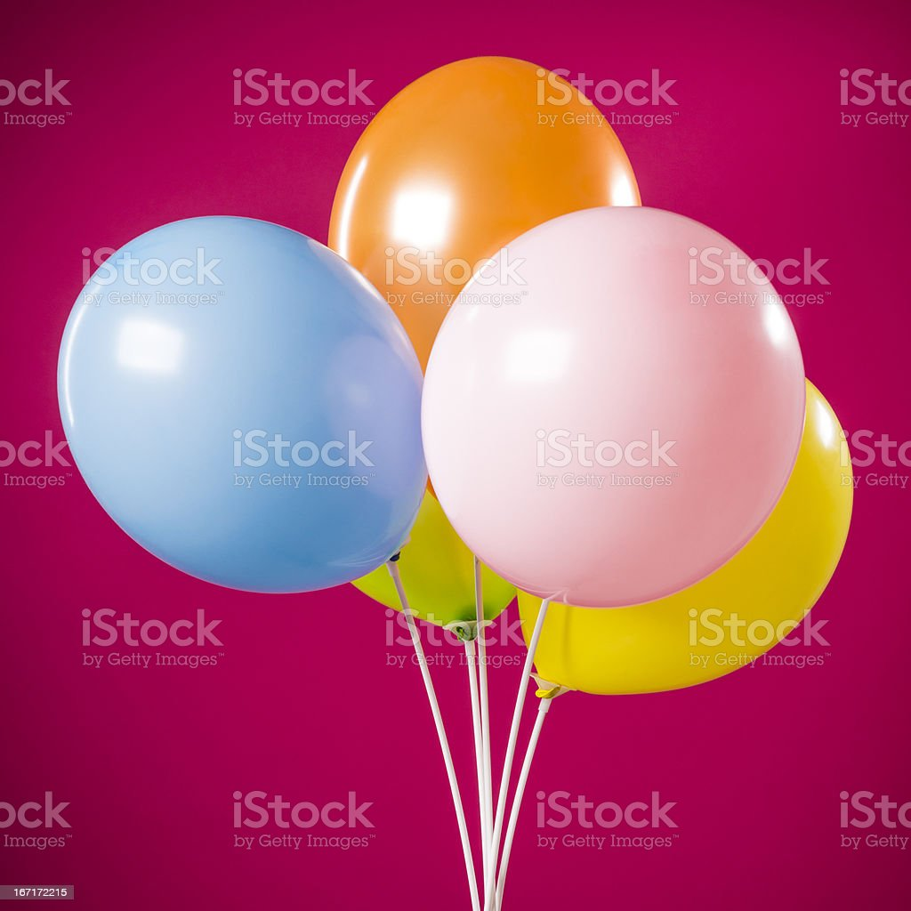 Happy birthday, five party multicolored balloons isolated on magenta royalty-free stock photo