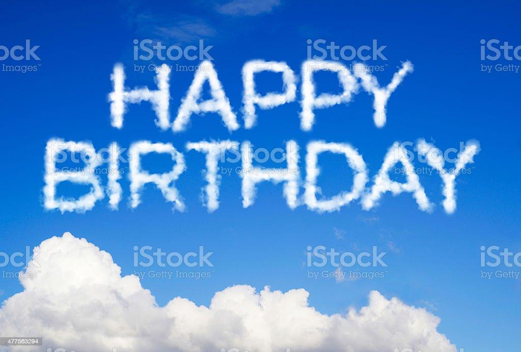 Happy birthday message in the sky stock photo