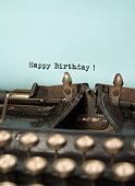 Happy Birthday on antique typewriter