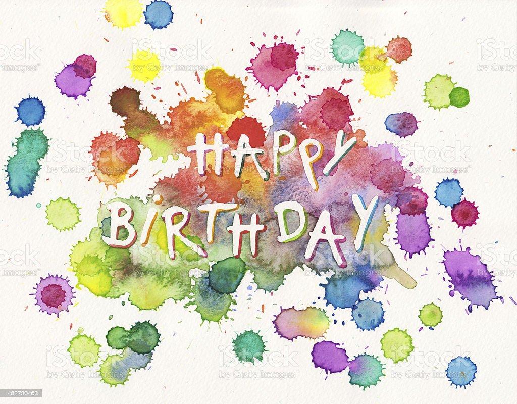 Happy Birthday paint splashes royalty-free stock photo