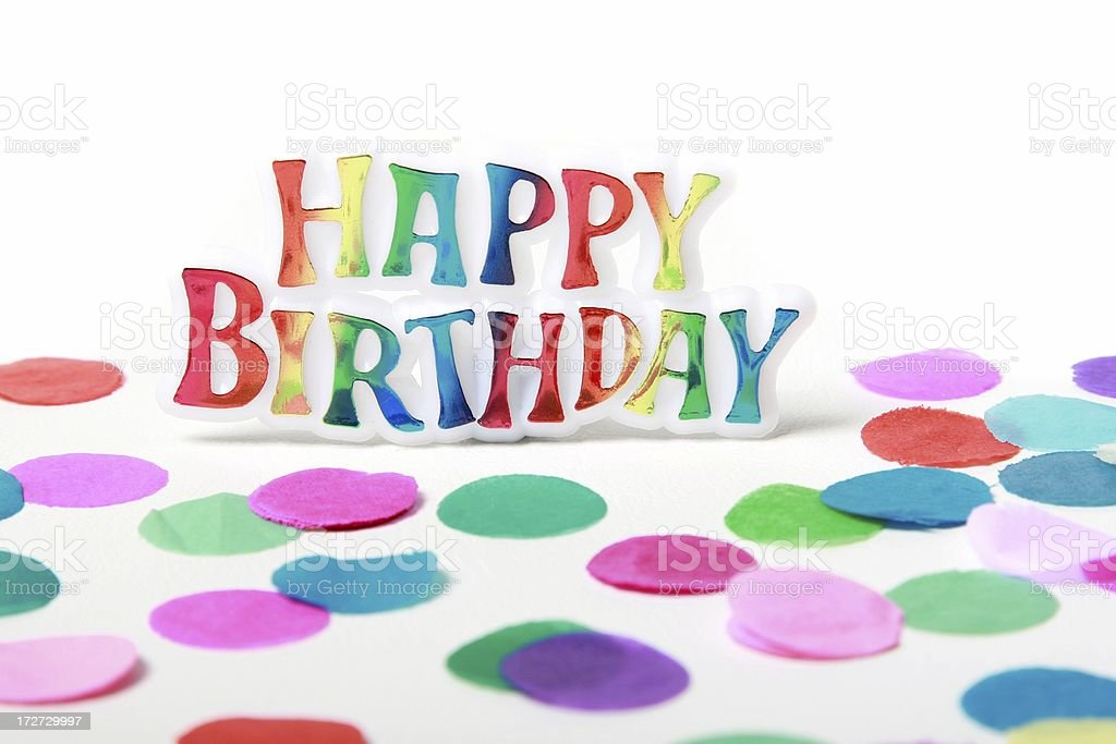 Happy Birthday sign and confetti royalty-free stock photo