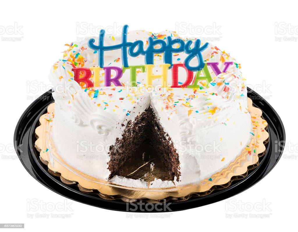 Happy birthday sign on white iced cake stock photo
