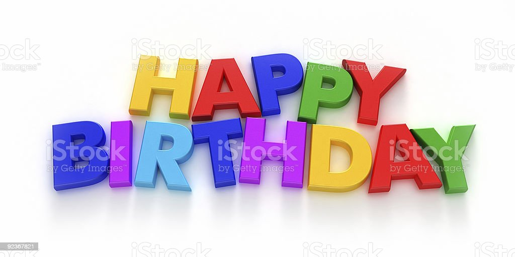 Happy Birthday spelled out in colorful letters stock photo