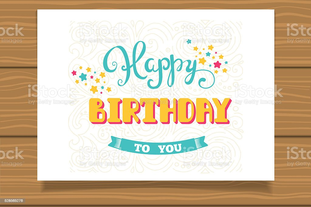 Happy Birthday. Template for birthday cards. Hand lettering. stock photo