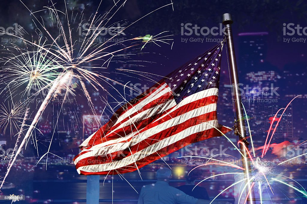 Happy birthday USA.  Flag, fireworks, American flag. July 4th celebration. stock photo