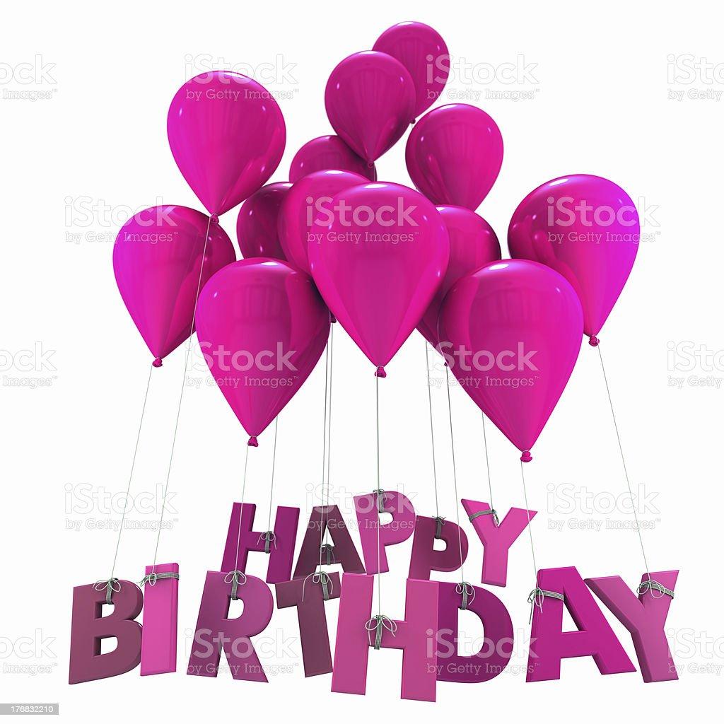 Happy birthday with pink balloons stock photo