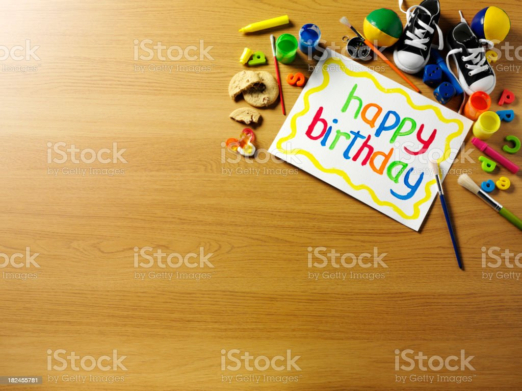 Happy Birthday with Toys royalty-free stock photo