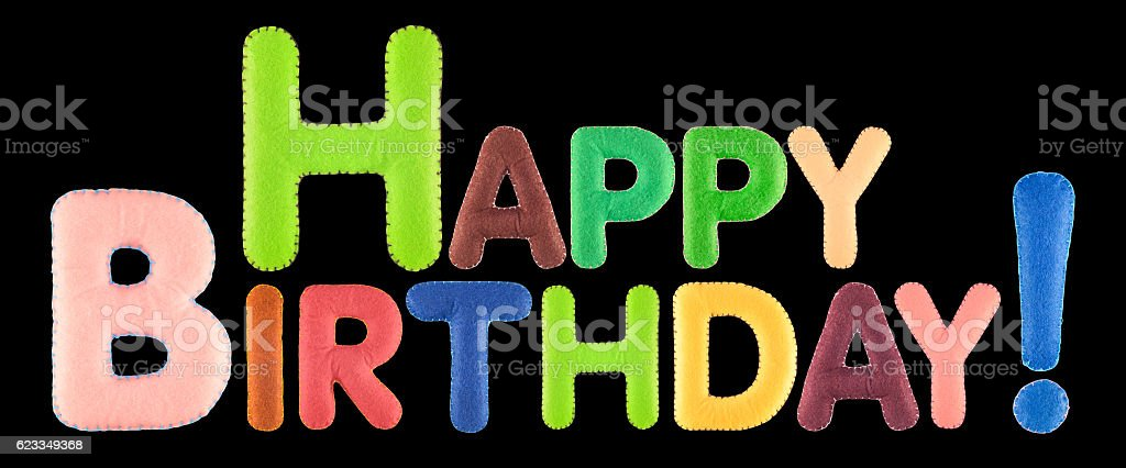 Happy Birthday. Words isolated on black background. stock photo
