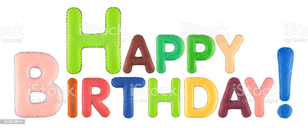 Happy Birthday. Words isolated on white background. stock photo