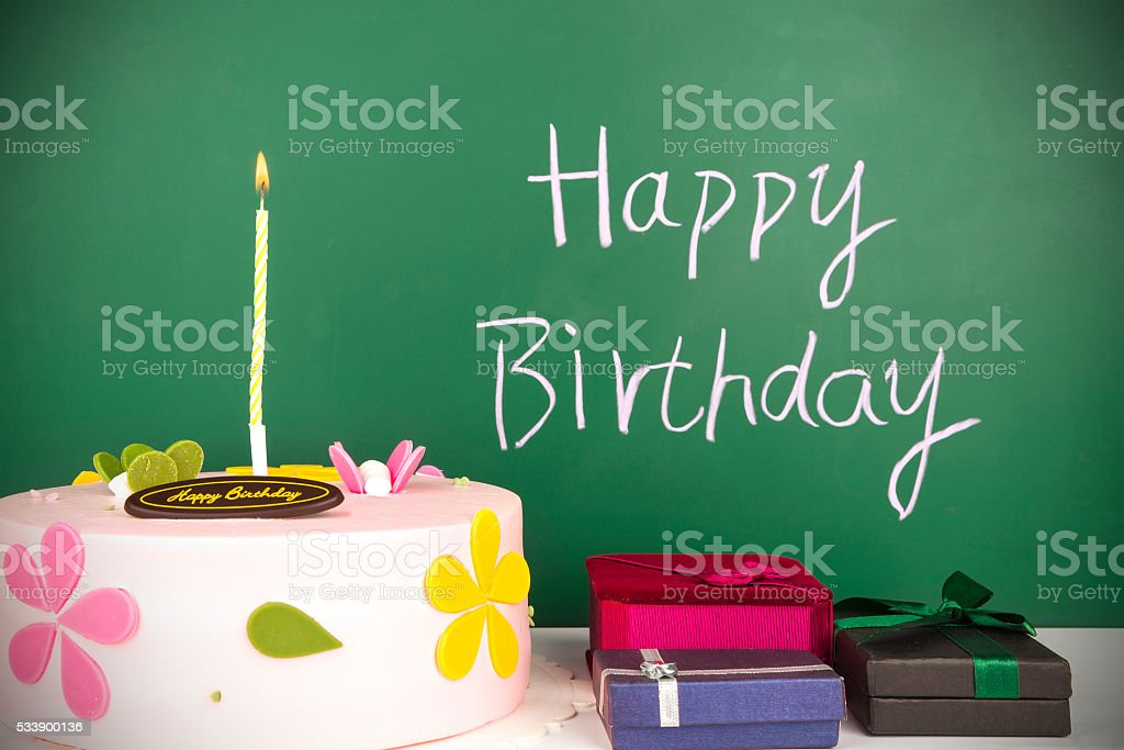 happy birthday:Celebration cake and gift with sparkler stock photo