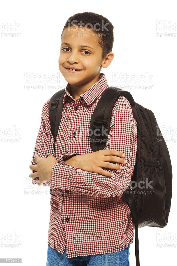 Happy black school boy royalty-free stock photo