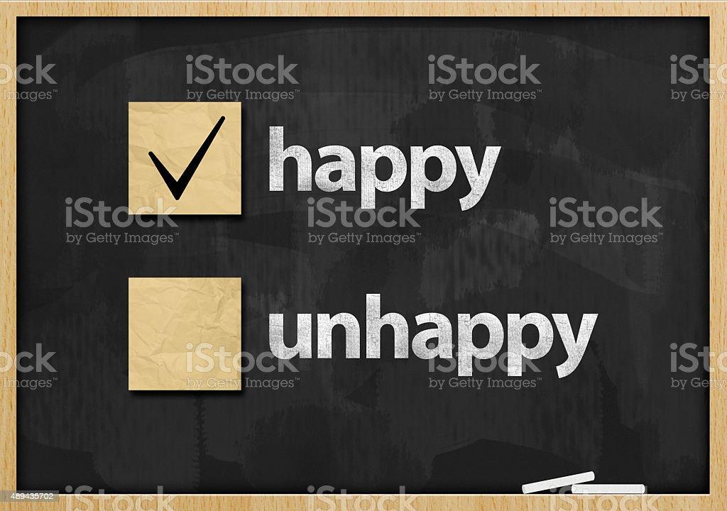 Happy / Blackboard concept (Click for more) stock photo