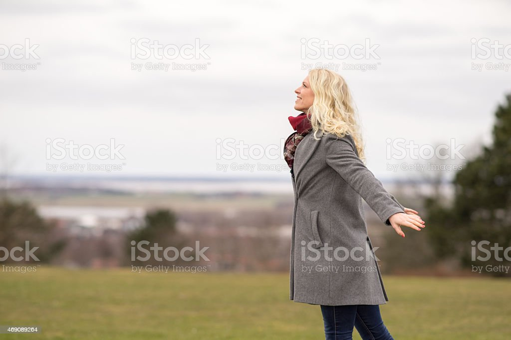 Happy blond girl outside royalty-free stock photo