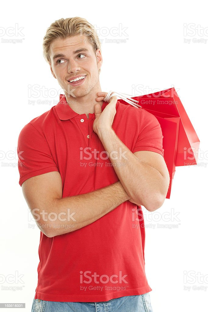 happy blond man with bag stock photo