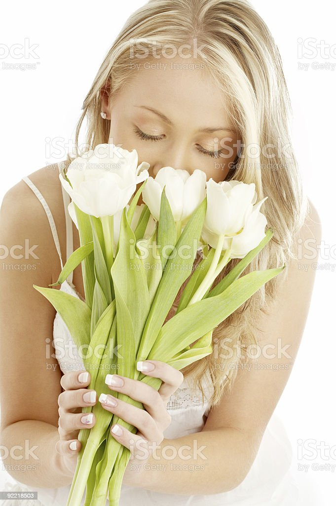 happy blond with white tulips royalty-free stock photo