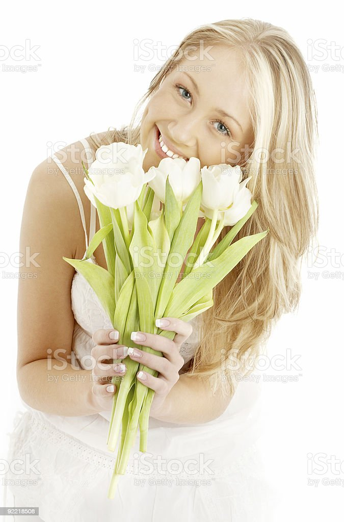 happy blond with white tulips #2 royalty-free stock photo