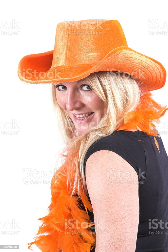 Happy blond woman stock photo