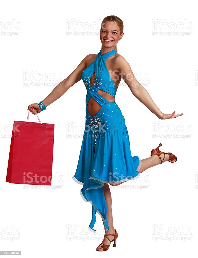 Happy Blonde Woman With Shopping Bag royalty-free stock photo