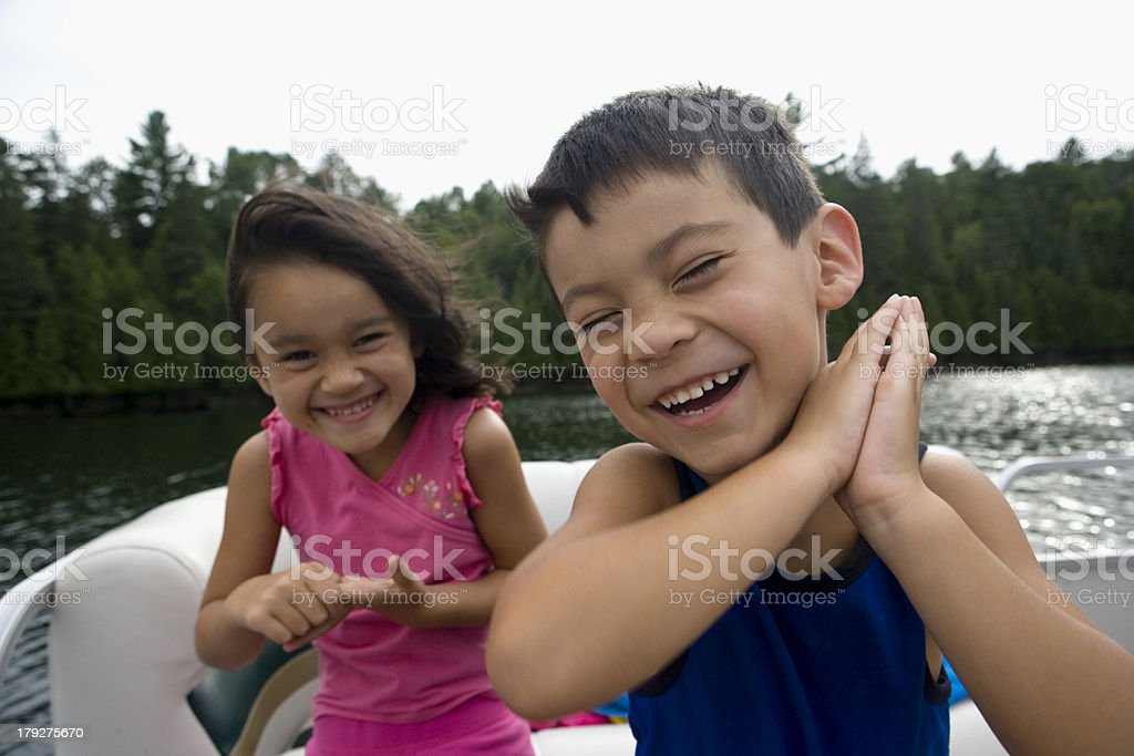 Happy Boaters stock photo