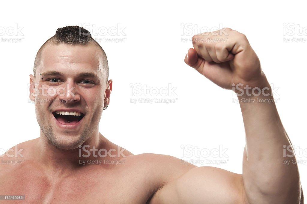Happy body builder enjoying victory royalty-free stock photo