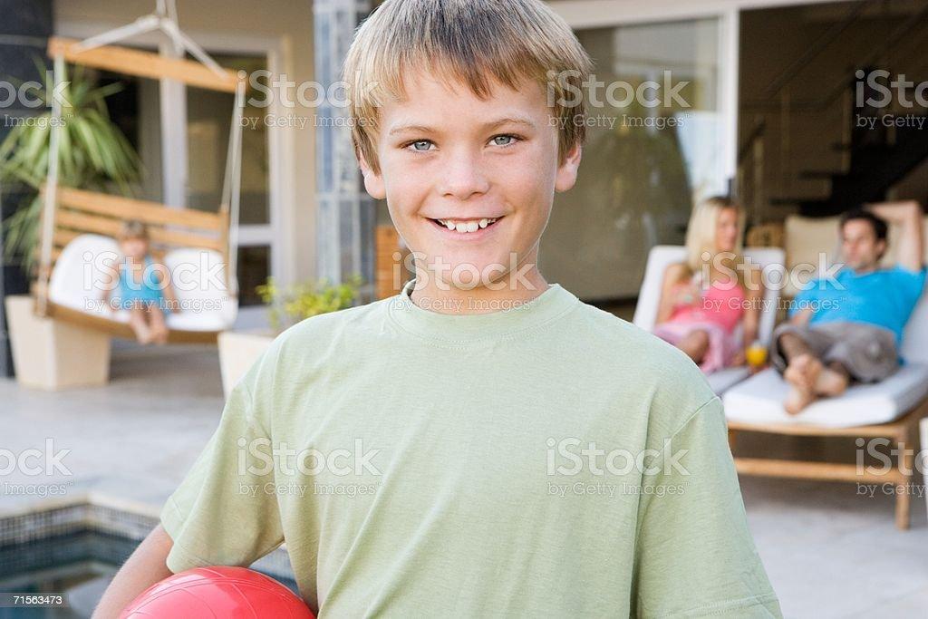 Happy boy and family royalty-free stock photo