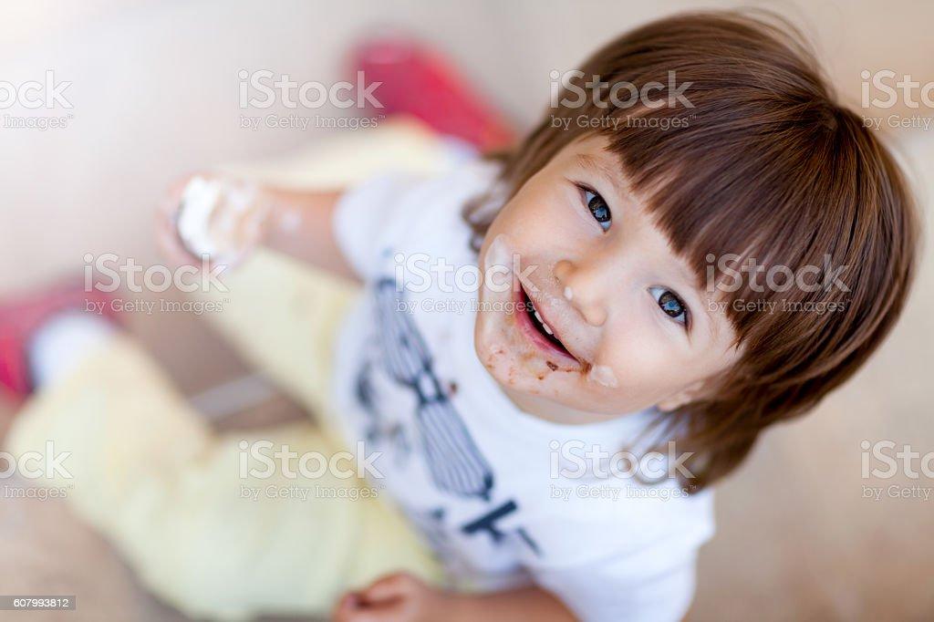 Happy Boy and Ice cream stock photo