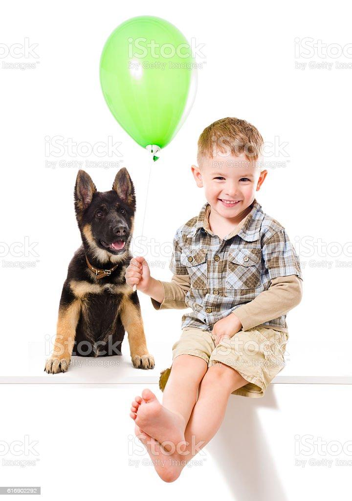 Happy boy and puppy German Shepherd stock photo